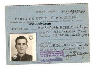 Carnet de Joaquín Masegosa González deportado político durante la guerra civil española