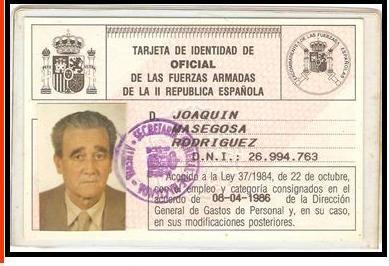 Tarjeta de identidad de oficial de la II República Española de Joaquín Masegosa González